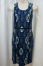 Marc New York Dress Sz 4 Blue White Multi Sleeveless Evening Cocktail Party Dres