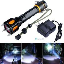10000Lm CREE XM-L T6 LED Flashlight Cutting Rope Audible Alarm Torch + Charger
