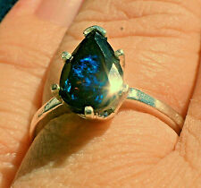1.36ct Multi-Color Black Welo Opal Faceted Pear 925 Sterling Silver Ring Sz 6.5