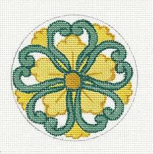 Japanese Mon ~ Flower Ornament handpainted Needlepoint Canvas by Decorations