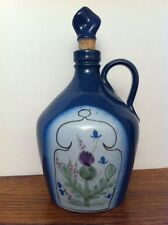 Buchan Pottery Scotland Thistleware Thistle Blue Purple Stopper DECANTER JUG 7""