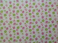 ~ FLANNEL ~ Hoot~Owl~Childrens~Quilting~Fabric~Flannelette~White~Pink~Girls~FQ
