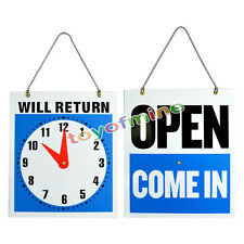 """OPEN CLOSED Sign / WILL RETURN + CLOCK : Business Hours —Hanging 2-Sided 8.7x7½"""""""
