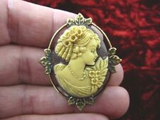 (CM7-38) RINGLETS GIRL brown + ivory CAMEO brass Pin Pendant Jewelry brooch NICE