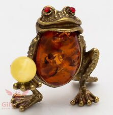 Russian Solid Brass Amber Figurine of Feng Shui Frog Totem talisman IronWork