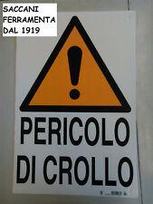 """CARTELLO """"PERICOLO DI CROLLO"""" 40X60 POLIONDA"""