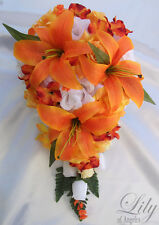 17pcs Wedding Cascade Bridal Bouquet Silk Flower Teardrop ORANGE WHITE