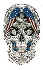 FREEDOM IS NEVER FREE Patriotic SUGAR SKULL Sticker MILITARY Decal by Skygraphix
