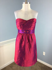 Phoebe Couture M 8 Pink 100% Silk Taffeta Strapless Cocktail Party Dress Beads