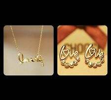 New Gold Plated Love Rhinestone stud earrings and necklace lovers best gift