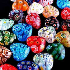 Wholesale 100pcs Shining Heart Millefiori Glass Craft Beads 8mm Multi-Color Lots