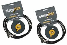 2 Elite Core Stage Mix In-Ear Monitor Pro 10' Headphone Extension Cables 1/8-1/4
