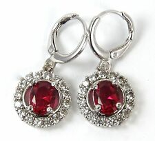 Women's 18 Carat White Gold plated Red Cubic Zircon drop dangle earrings