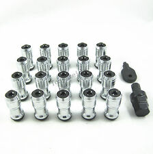 BLACK STEEL JDM EXTENDED DUST CAP LUG NUTS WHEEL RIMS TUNER M12x1.5 WITH LOCK