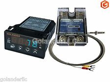 Universal 1/32DIN PID Temperature Controller, Blue + 25A SSR + K thermocouple