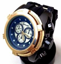Men's Oversize Fashion Watch Geneva Mc41536 Black Silicone Band Gold Bezel