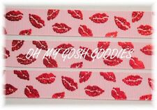 7/8 VALENTINE METALLIC KISS SHINY RED FOIL LIPS GROSGRAIN RIBBON 4 HAIRBOW PINK