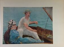 "1957 Vintage Full Color Art Plate ""BOATING"" by MANET Gorgeous Lithograph"
