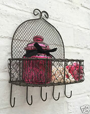 Rustic Vintage Style Wall Mounted Wire Rack Storage Basket Shelf with Hooks