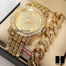 TECHNO PAVE ICED OUT GOLD FINISHED LAB DIAMOND WATCH CUBAN CHAIN BRACELET COMBO