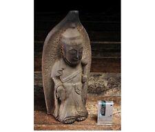 EDO Japanese Zen Kannon Bosatsu Stone Buddha Buddhist Lotus Statue Okimono