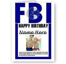 Personalised Any Name, Any Photo FBI Badge Happy Birthday A5 All Occasion Card