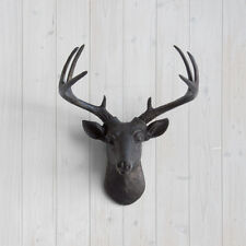 Wall Charmers Black Mini Deer Faux Head Fake Animal Antler Bust Taxidermy Resin