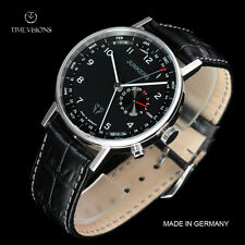 Junkers 40mm Eisvogel F13 German Made Leather Strap Watch w/ Swiss Date & Month