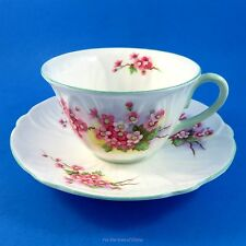 Green Handle Oleander Shape Blossom Shelley Tea Cup and Saucer Set