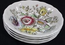 "SHERATON 4 Johnson Bros 5"" Fruit Dessert Sauce BOWLS Multi-color FLORAL ENGLAND"