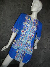 NEW FAB * 2 Dy 4 * COBALT BLUE PAISLEY HI LOW SCARF DRESS / TUNIC SIZE M 10 12