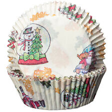 Cream with Snowglobes and Santa Cupcake Cases Xmas Christmas Baking Muffin