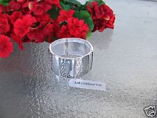 Liz Claiborne High Polished Silvertone Cuff Stretch Bracelet New With Tag