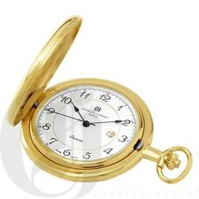Charles-Hubert Paris Gold-Plated Quartz Pocket Watch -3517