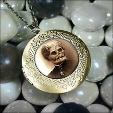 Haunted Mansion Zombie Ghost Woman Antique Bronze Glass Horror Locket Necklace