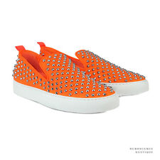 Giacomorelli Neon Orange Metal Studded Leather Punk Slip-On Sneakers IT43 UK9