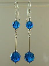 Vintage Exquisite Blue AB Faceted Glass Crystals & 925 Sterling Silver Earrings