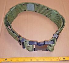 US Military PISTOL BELT Utility OD-Green Med, BLK Buckle, MOLLE Alice LC-2 VGC!