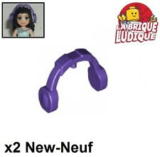 Lego - 2x Minifig headgear casque écouteur headphone violet/d. purple 14045 NEUF