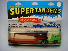 VINTAGE MAJORETTE-SUPER TANDEMS-TRUCK FLATBED TRAILER & CRANE-#322-MADE IN FRANC