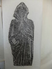 "Brass rubbing LADY PRAYING c1500's 34x16""  .. 103/1"