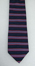 Pink & blue striped silk tie by Debenhams vintage mans clothing accessory 1980s