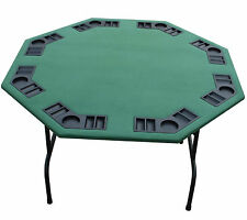 "52"" Octagon Green Felt Poker Card Game Table-W Folding Steel Legs 8 Player Spots"