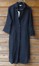 ~ LOVE! ~ Black Italian Linen P. C. FEMME Shirtdress Shirt Dress Tunic 40IT XS