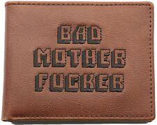 Officially Licensed Men's Bad Mother Wallet Bi-fold Embroidered Brown Genuine