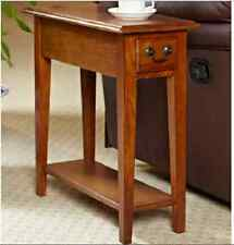 Small End Table Chair Sofa Side Narrow Drawer Shelf Brown Oak Finish Chairside