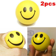 2 Smiley Face Anti Stress Reliever Ball Stressball ADHD Autism Mood Toys Squeeze