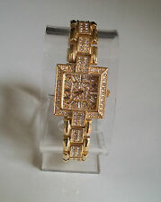 Gold Finish Designer Style Crystal  Bling Watch
