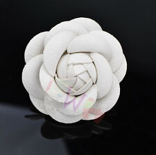 New Charm Big White Camellia Pin Brooch Leather Flower Women Pin Brooch