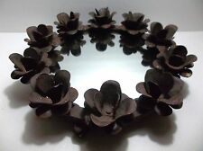 Vintage Cast Iron Mirror TRAY Flower Candle Holders 14""